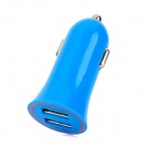 Mini Car Cigarette Powered Charging Adapter Charger w/ Dual USB for Cell Phone - Blue (12~24V)