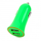 Mini Car Cigarette Powered Charging Adapter Charger w/ Dual USB for Cell Phone - Green (12~24V)