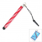 Aluminum Alloy Retractable Touch Screen Stylus Pen for Cellphones + More - Red + Silver