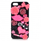 Stylish Rose / Lip / Bowknot Applique Plastic + Resin Back Case for IPHONE 5 / 5S - Black + Pink