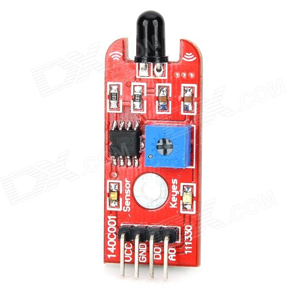 Flame 760nm~1100nm Light Detector Sensor for Arduino - RedSensors<br>Form ColorRedBrandkeyesModelN/AQuantity1 DX.PCM.Model.AttributeModel.UnitMaterialFR4English Manual / SpecNoDownload Link   Arduino routine and code: http://app.box.com/s/dblzdreddtz0mrlvw8pgApplicationGreat for DIY projectWorking Voltage   5 DX.PCM.Model.AttributeModel.UnitPacking List1 x Sensor<br>