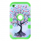 Love Heart Tree Style Protective Silicone Case for IPOD TOUCH 4 - White + Light Green