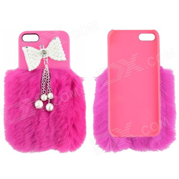 Fashion Bow-Knot Style ABS + Rabbit Hair Back Case for IPHONE 4 / 4S - Deep Pink fashion bow knot side up strapless party dress deep pink size m