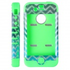HM01 Zig Zag Anchor Pattern Protective Silicone Back Case for IPHONE 4 / 4S - Black + Green