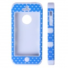 HM01 Lovely Heart Pattern Protective Silicone Back Case for iPhone 5 - Blue + White