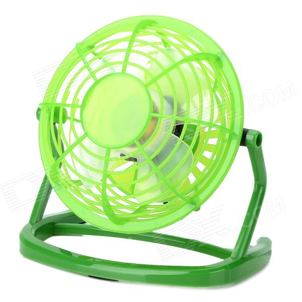 LZZ-111 360 Degree Rotate Mini 4-Blade 1-Mode USB2.0 Fan - Green + White (DC 5V / 110cm)