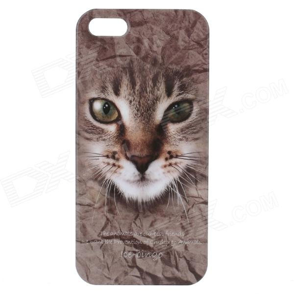 C200006 Animal Series Cute Cat Style Protective Plastic Back Case for IPHONE 5 / 5S - Brown ipsky cool style detachable back case for iphone 5 5s white reddish brown