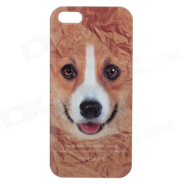 C200001 Animal Series Cute Corgi Style Protective Plastic Back Case for IPHONE 5 / 5S - Brown