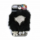 Fashion Rhinestone Fox Head Style ABS + Rabbit Hair Back Case for IPHONE 5 / 5S - Black