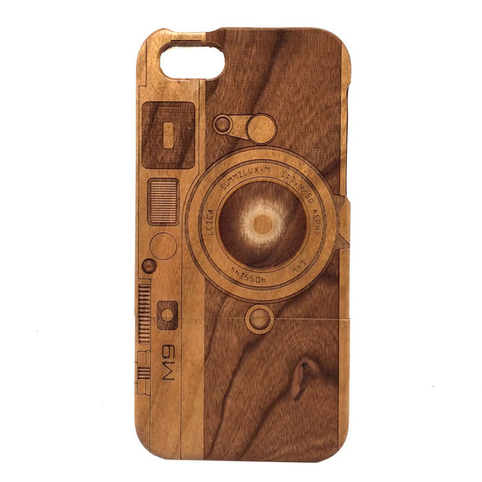 Camera Pattern Detachable Protective Wood Back Case for IPHONE 5C - Wooden