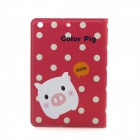 Cute Pig Pattern Protective PU Leather Auto Sleep Case Cover w/ Stand for IPAD MINI - Red + White