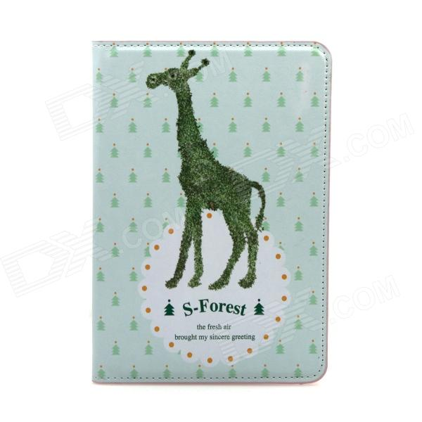 Cute Giraffe Pattern Protective PU Leather Auto Sleep Case Cover w/ Stand for IPAD MINI - Green