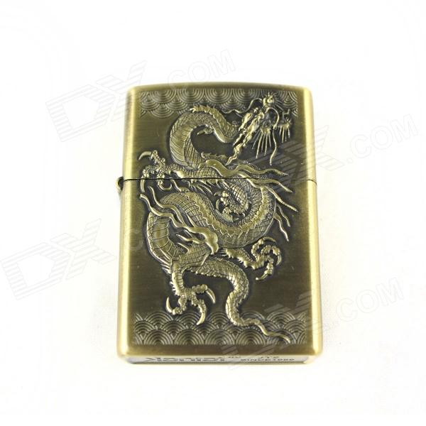 Retro Chinese Dragon Pattern Lighter - Antique Brass