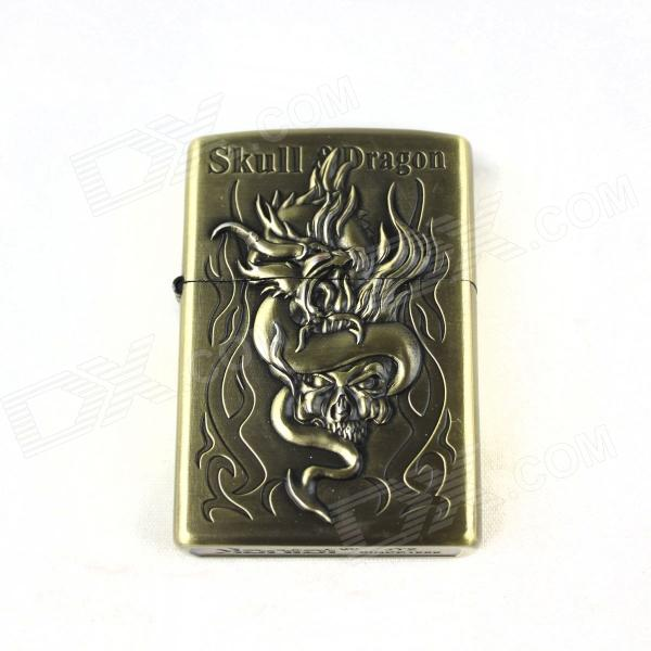 Creative Flame Dragon Pattern Lighter - Antique Brass