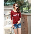 Fashion V-neck Slim Fit T-shirts - Wine Red (L)
