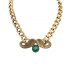 Antique Zinc Alloy + Glass Fashional Punk Beard Necklace - Golden + Blue
