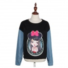 Original Round Collar Graffiti Pullover Fleece - Black + Blue (Free Size)