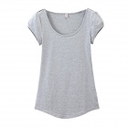Cotton Round Collar Slim Fit Short-sleeve T-shirt - Gray