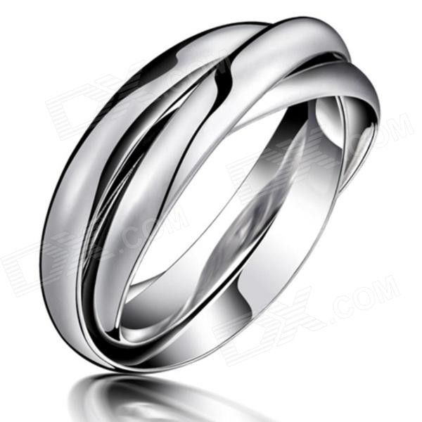 Fashionable Titanium Steel Three Ring - Silver (Size 7)