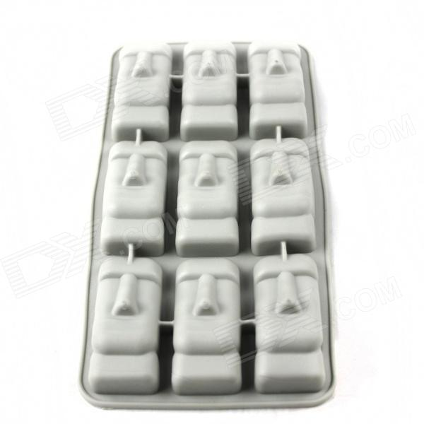 Giant Head Style Silicone 9-Lattice Ice Mold - Grey