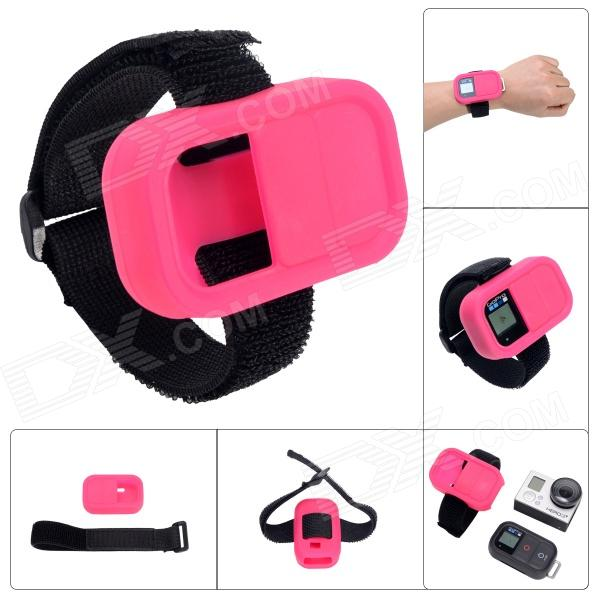 Wrist Belt Silicone Protective Case for GoPro Hero3+/3 Wi-Fi Remote Control - Deep Pink