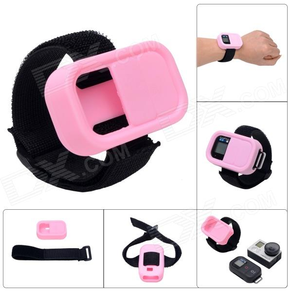 Elastic Wrist Belt Silicone Protective Case for GoPro Hero3+/3 Wi-Fi Remote Control - Pink