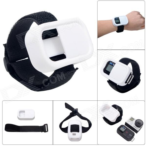 Elastic Wrist Belt Silicone Protective Case for GoPro Hero3+/3 Wi-Fi Remote Control - White