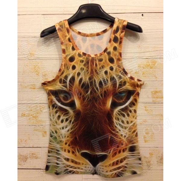 Y-552 Men's Stylish 3D Leopard Pattern Cotton I-shaped Vest - Yellow (M)