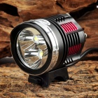 LetterFire 1800lm 3-LED Cree XM-L2 T6 4-Mode Bike Head Lamp Set - Red + Yellow (8.4V / 4 x 18650)
