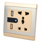 LIT Dual USB 4-outlet Night Lamp Wall Socket - Silver + Golden + Multi-Colored (110~250V)