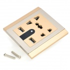 Dual USB 4-outlet Night Lamp Wall Socket - Silver + Golden (110~250V)