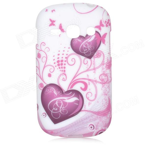 Love Hearts Style Protective TPU Back Case for Samsung Galaxy Fame S6812 / S6810 - Purple + White simple plain matte abs back case for samsung galaxy fame s6810 s6812 black