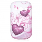 Love Hearts Style Protective TPU Back Case for Samsung Galaxy Fame S6812 / S6810 - Purple + White