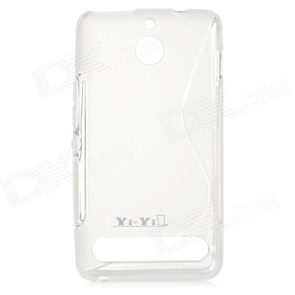 YI-YI S Style Anti-Slip Protective TPU Back Case for Sony Xperia E1 - Translucent White yi yi s shaped anti skid protective tpu back case for sony xperia e translucent grey