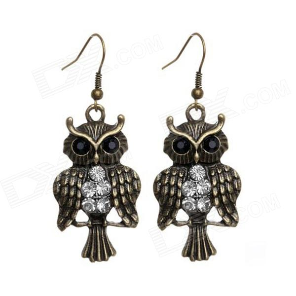 EQute EPEW10C99 Vintage Owl Style Earrings w/ White Rhinestones - White + Bronze (Pair) equte xpew25c1 women s elegant luxurious pearl style rhinestones brooch white
