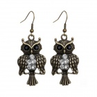 EQute EPEW10C99 Vintage Owl Style Earrings w/ White Rhinestones - White + Bronze (Pair)