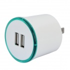 Flipping US Plug Dual USB Output Power Adapter w/ LED Ring Indicator - White + Green