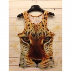 Y-552 Men's Stylish 3D Leopard Pattern Cotton I-shaped Vest - Yellow (XL)