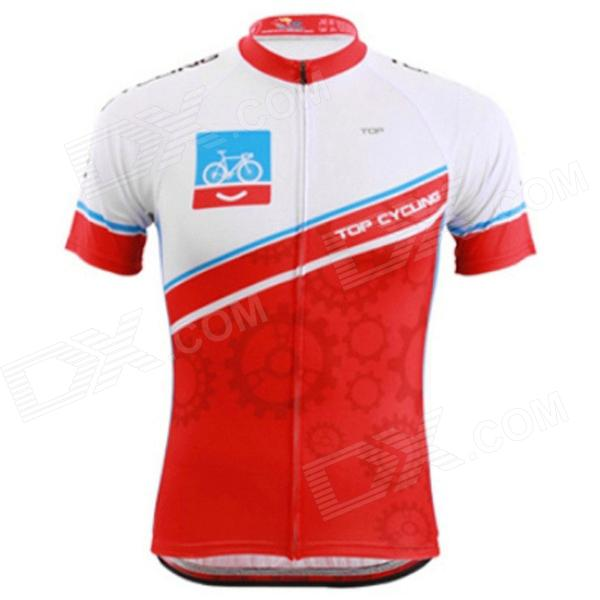 TOP CYCLING SAE273 Cycling Polyester Short Sleeves Jersey for Men - Red + White (XL) veobike men long sleeves hooded waterproof windbreak sunscreen outdoor sport raincoat bike jersey bicycle cycling jacket