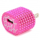 TX-053 Rhinestone USB AC Power Adapter - Deep Pink (2-Flat-Pin Plug)