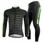 NUCKILY Cycling Long Sleeves Jersey + Pants for Men - Black + Green (XL)