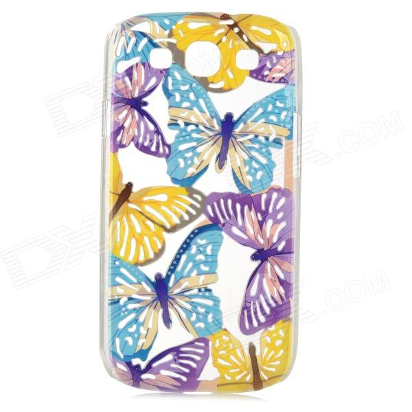 A1LJ Butterfly Style Protective Plastic Case for Samsung Galaxy S3 i9300 - Blue + Yellow + Purple butterfly bling diamond case