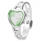 Woman's Sweet Clover Pattern Heart Shaped Analog Quartz Wristwatch - Silver + Green (1 x SR626)
