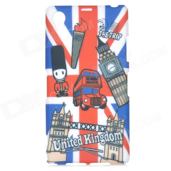 UK National Flag Style TPU Back Case for Sony Xperia Z1 / i1 / L39H / C6902 / C6903 - Red + Blue graffiti us national flag style statue of liberty pattern tpu case for sony xperia z1 blue red