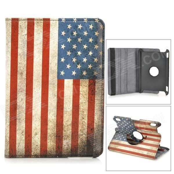US National Flag 360 Degree Rotation PU Leather Case for Amazon Kindle Fire HDX7 - Red + Blue for amazon 2017 new kindle fire hd 8 armor shockproof hybrid heavy duty protective stand cover case for kindle fire hd8 2017