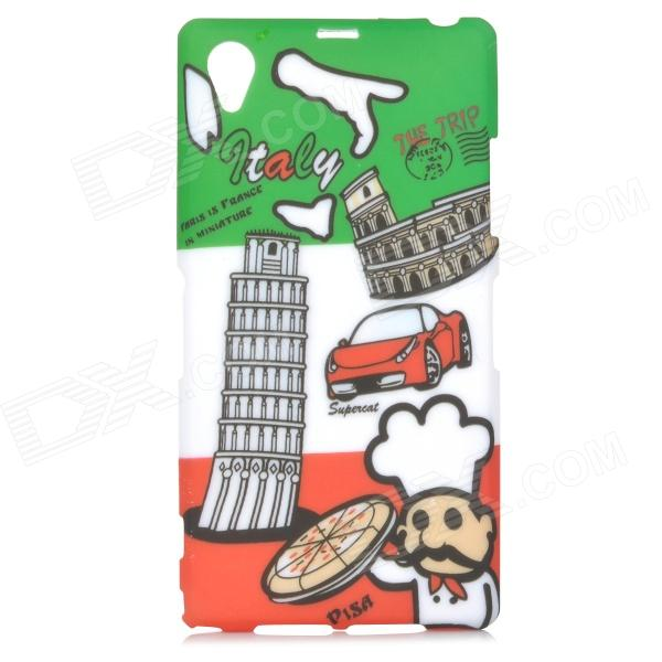Graffiti Flag of Italy + Leaning Tower of Pisa Pattern Protective TPU Back Case for Sony Xperia Z1 us flag big mouth pattern protective tpu back case for sony xperia z2 d6503 white red