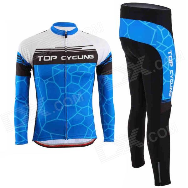 TOPCYCLING Cycling Polyester Long Sleeves Jersey + Pants - Blue + Black (L) arsuxeo ar608s quick drying cycling polyester jersey for men fluorescent green black l