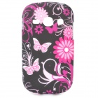 Stylish Flower & Butterfly Pattern TPU Back Case for Samsung Galaxy Fame S6812 / S6810 - Black