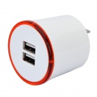 Flipping US Plug Dual USB Output Power Adapter w/ LED Ring Indicator - White + Red