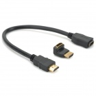 "2-in-1 HDMI Male to Female AV Cable + 90"" Angled HDMI Male to Female Adapter - Black"